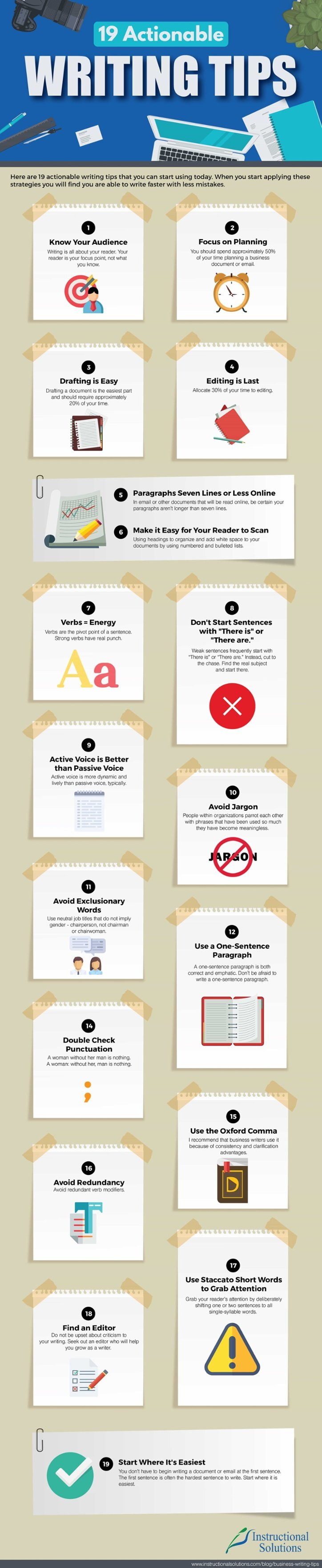 19 Actionable Writing Tips